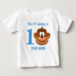 Deze aap Lil is één Eerste Verjaardag twee drie Baby T Shirts