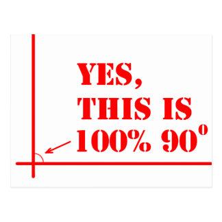 Deze hoek is 100 percenten 90 graden briefkaart