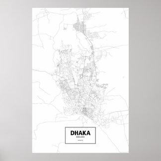 Dhaka, zwart Bangladesh (op wit) Poster