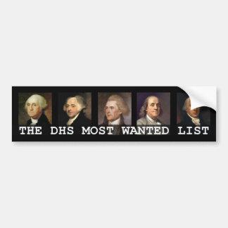 DHS de Meeste Gewilde Lijst Bumpersticker