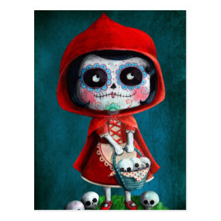 Dia DE los Muertos Little Rode Berijdende Kap Briefkaart