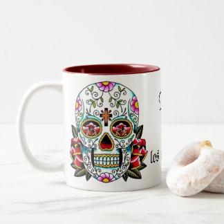 Día DE los muertos Mug Tweekleurige Koffiemok