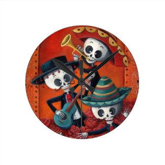 Dia DE Los Muertos Skeleton Mariachi Trio Ronde Klok