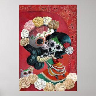 Dia DE Los Muertos Skeletons Moeder en Dochter Poster