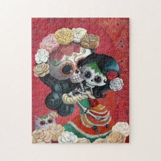 Dia DE Los Muertos Skeletons Moeder en Dochter Puzzel