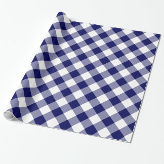 Diagonale Marine en Witte Gecontroleerde Plaid Inpakpapier