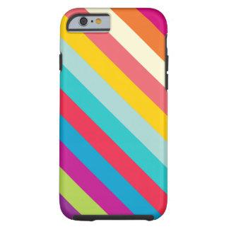 Diagonale Strepen in de Kleuren van de Zomer Tough iPhone 6 Hoesje