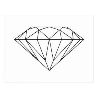 Diamant die Zwart-witte Modern trekken Briefkaart