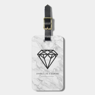 Diamant met Marmer Kofferlabel