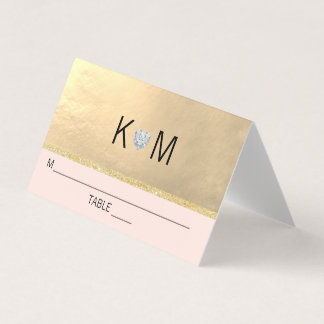Diamant van het Hart van het monogram bloost de Plaatskaart