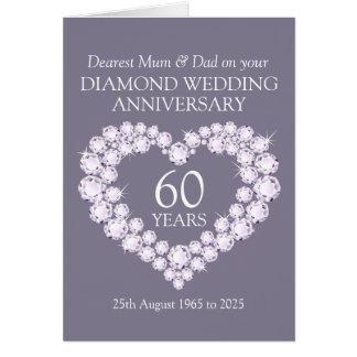Diamanten bruiloft mum en papakaart wenskaart