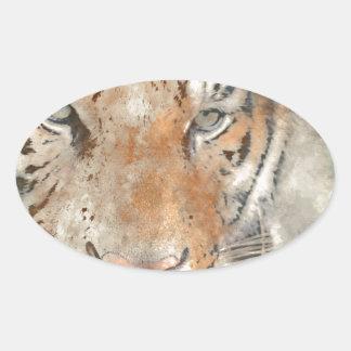 Dichte Omhooggaand van de tijger in Waterverf Ovale Sticker