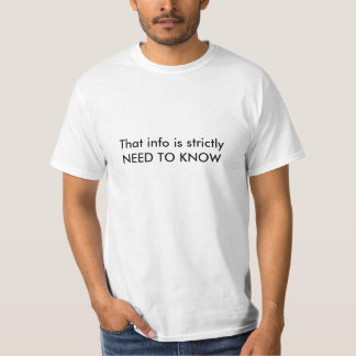 Die info is strikt BEHOEFTE HET TE WETEN T Shirt