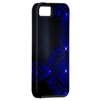 Diep Blauw Versierd Damast Tough iPhone 5 Hoesje