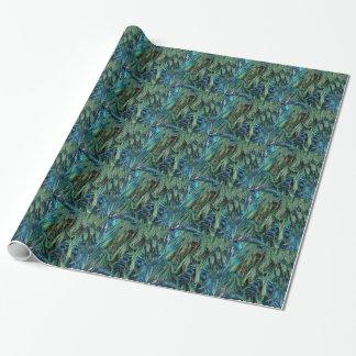 Diep Blauwe en Groene Veren Peafowl Inpakpapier