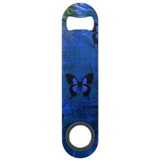Diepe donkerblauwe en zwarte fancy vlinders speed flessenopener