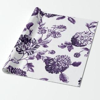 Diepe Moerbeiboom Paarse Botanische BloemenToile Inpakpapier