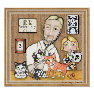 Dierenarts met Katjes Poster