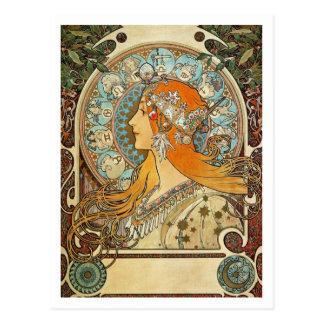 Dierenriem door Alphonse Mucha Briefkaart