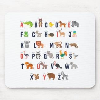 Dierlijke ABCs - Alfabet Muismat