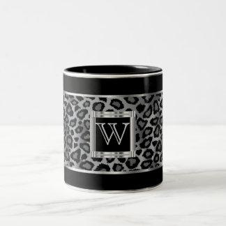 Dierlijke Druk van de Luipaard van het monogram de Tweekleurige Koffiemok