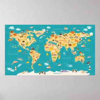 Dierlijke Kaart van de Wereld voor Kind Poster