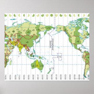 Digitale illustratie die van wereldkaart tijd tone poster