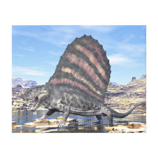 Dimetrodon die zich in een vijver in de woestijn canvas print