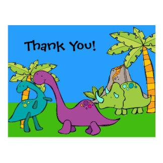 Dino Dinosaur Prehistoric Birthday Thank u Briefkaart