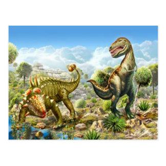 Dinosaurussen die Anklosaurus en Tyrannosaurussen Briefkaart