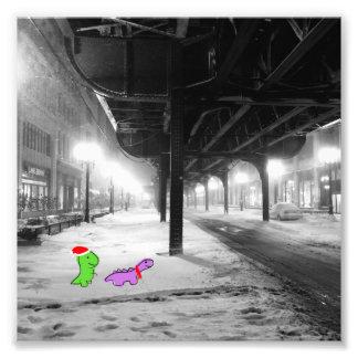 """Dinosaurussen in de sneeuw, de Trein van """"L"""", Foto Afdruk"""