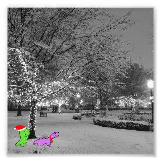 Dinosaurussen in de sneeuw, Universiteit van Foto Afdruk