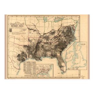 Distributie van Slaven in Zuidelijke Kaart 1860