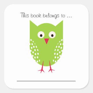 Dit boek behoort tot… (Groene Uil) Vierkante Sticker