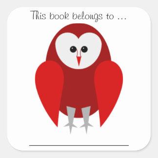Dit boek behoort tot… (Rode Grote schuuruil,) Vierkante Sticker
