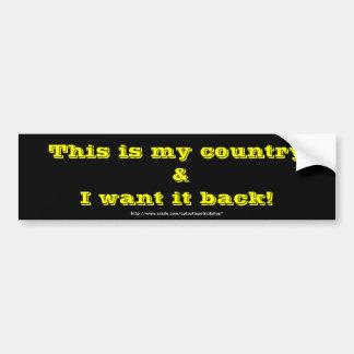Dit is mijn land & wil ik achter het! bumpersticker