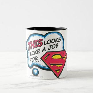 Dit kijkt als een Baan voor Superman Tweekleurige Koffiemok