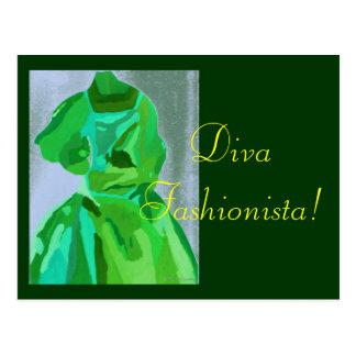 Diva Fashionista in de Zomer Wens Kaart