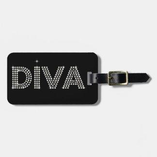 Diva van de diamant het Fonkelen Zwarte Kofferlabel