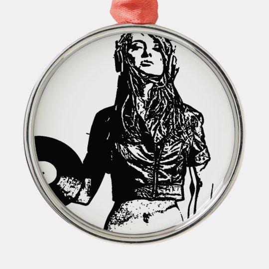 DJ girl Zilverkleurig Rond Ornament