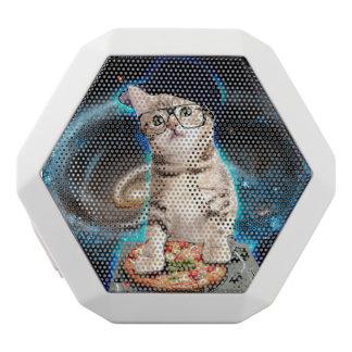 DJ kat - ruimtekat - kattenpizza - leuke katten Witte Bluetooth Speaker