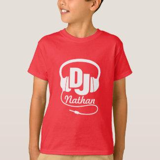 DJ uw naamwit op rode kinder t-shirt