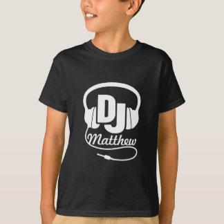 DJ uw naamwit op zwarte kinder t-shirt