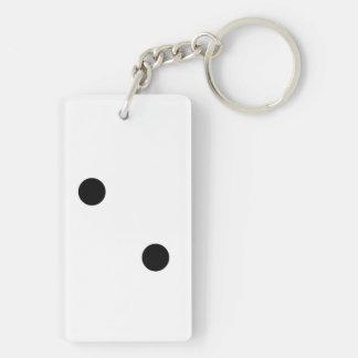 Dobbel 2 2-Zijde rechthoekige acryl sleutelhanger