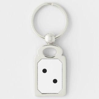 Dobbel 2 zilverkleurig rechthoekige sleutelhanger