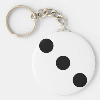 Dobbel 3 basic ronde button sleutelhanger