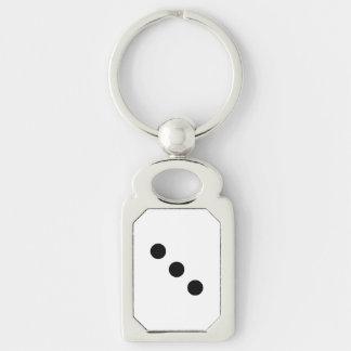 Dobbel 3 zilverkleurig rechthoekige sleutelhanger