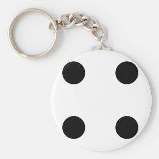 Dobbel 4 basic ronde button sleutelhanger