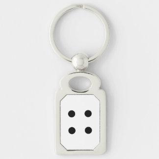 Dobbel 4 zilverkleurig rechthoekige sleutelhanger