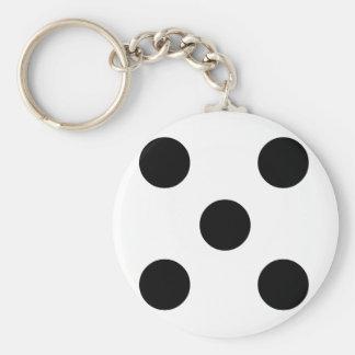 Dobbel 5 basic ronde button sleutelhanger